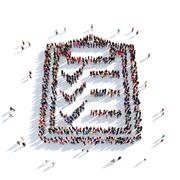 questionnaire shape people 3D rendering - stock illustration