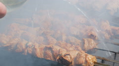 Pouring Water On Marinated shashlik grilling on a barbecue grill over charcoal Stock Footage