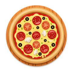 Vector detailed hot pizza with sticky cheese and salami icon - stock illustration