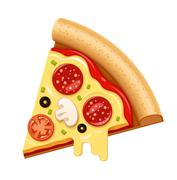 Vector hot pizza slice with sticky cheese and salami icon - stock illustration