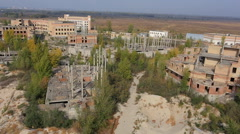 Aerial View Of The Sandpit And Unfinished Buildings Stock Footage