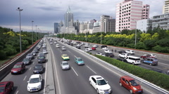 Rush hour traffic and cityscape in Urumqi Stock Footage