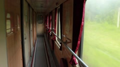 Interior of Ukrainian old railway carriage on the move (live camera) Stock Footage