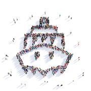 Ship people 3D rendering Stock Illustration
