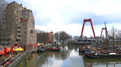 View of old harbour at Rotterdam Blaak Stock Footage