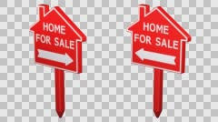 Home for sale signs turn around. 3D rendering. Stock Footage