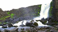 Oxararfoss waterfall at Thingvellir National park Stock Footage