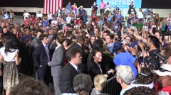 Hillary Clinton Greets Supporters At Rally In Tampa Florida Wide Shot - stock footage