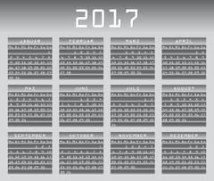 Deutsch calendar 2017 greyscale with festivities Stock Illustration