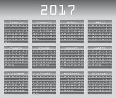 Italian calendar 2017 greyscale with festivities Stock Illustration