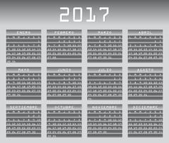 Spanish calendar 2017 greyscale with festivities Stock Illustration