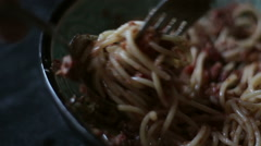 Rolling spaghetti with fork and spoon Stock Footage