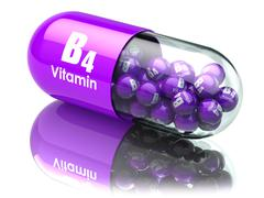 Vitamin B4 capsule or pill. Dietary supplements. 3d illustration - stock illustration