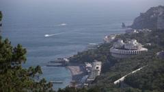 Kurpaty sanatorium near Yalta long wide shot Stock Footage