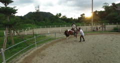Women riding a horse in stables Stock Footage