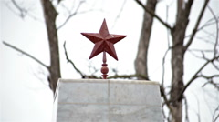 Close up Red Army Memorial on cemetery red star Stock Footage