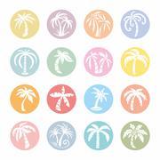 Palm Tree Vector Icons Stock Illustration