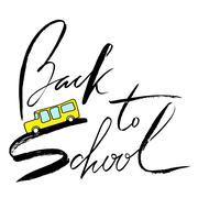 School bus. Handwritten lettering inspiration. Back to school Piirros