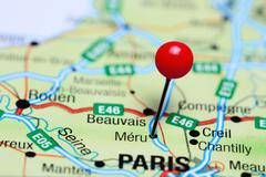 Meru pinned on a map of France Stock Photos