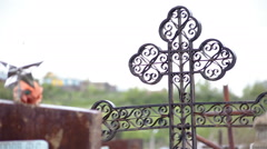 The old cemetery in eastern europe Stock Footage