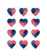 Heart shaped loading sequences ranging from blue hues to pink hues gradient - stock illustration