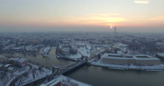 Aerial: Grunwald bridge in Wroclaw during winter, Poland Stock Footage
