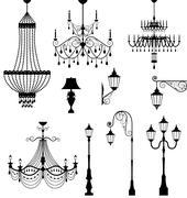 Chandelier and vintage lamp set Stock Illustration