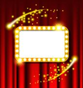 Retro light sign and red curtain Stock Illustration