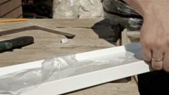 Operator bending metal sheet by sheet bending machine Stock Footage