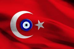 Turkey flag with blue eye symbol Stock Illustration