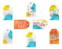 Collection of Creative tags with inspiration typography sayings, signs. Set of Stock Illustration