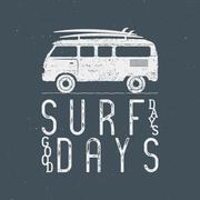 Vintage Surfing Graphics and Poster for web design or print. Surfer banner with Stock Illustration