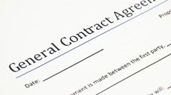 Analyzing General Contract Agreement Form Stock Footage