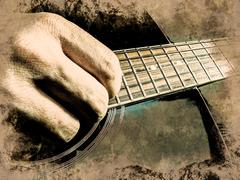 Closeup photo of an acoustic guitar played by a man Piirros