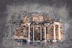 ruins of ancient city - stock illustration