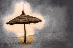 Simple scene with straw umbrella - stock illustration