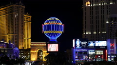 Paris Balloon, Arch and Shops on the Las Vegas Strip Stock Footage
