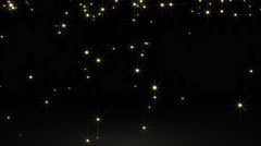 Glowing particle star in random direction with bounce on spotlight ground abs Stock Footage