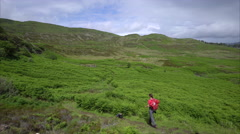 A hiker walking through a section of Idrigill Forest Stock Footage
