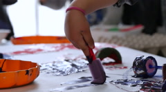 Babies Playing with Paints in Kindergarten Childcare Stock Footage