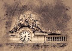 Clock,  Gare de l'Est, Paris, France - stock illustration