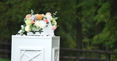 Wedding decorations flowers on a background of forest Stock Footage