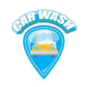 Vector Car wash icons set isolated on white Stock Illustration