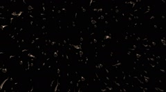 Abstract, moving particles in metal color on black Stock Footage