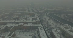 Aerial: Wroclaw in winter, Poland Stock Footage