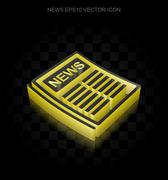 News icon: Yellow 3d Newspaper made of paper, transparent shadow, EPS 10 vector - stock illustration
