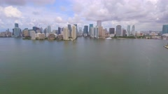 Aerial approach Downtown Miami Brickell Stock Footage