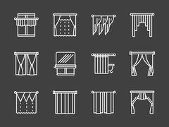Textile blinds simple white line vector icons Stock Illustration