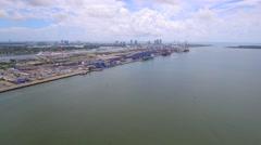 Aerial tour Port miami Stock Footage