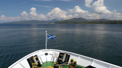 Bow of ship at sea with Scottish Flag 4K Stock Footage